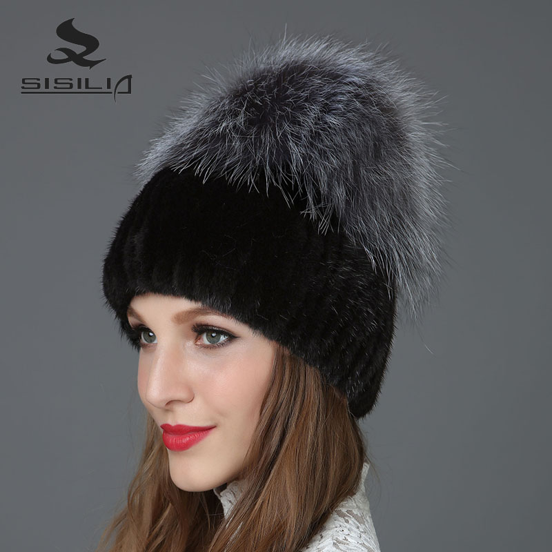 SISILIA 2017 New Winter Fashion New Women's Hats With Fox  Fur Hat Pom Poms Winter Hats Warm Knitted Cotton Beanies  Female Caps new star spring cotton baby hat for 6 months 2 years with fluffy raccoon fox fur pom poms touca kids caps for boys and girls