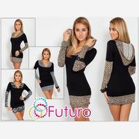 Plus Size Odzież Damska 2017 New Winter Dress Sexy Leopard Pełny Rękaw Z Kapturem Płaszcza Mini Sukienek Moda Casual Vestidos