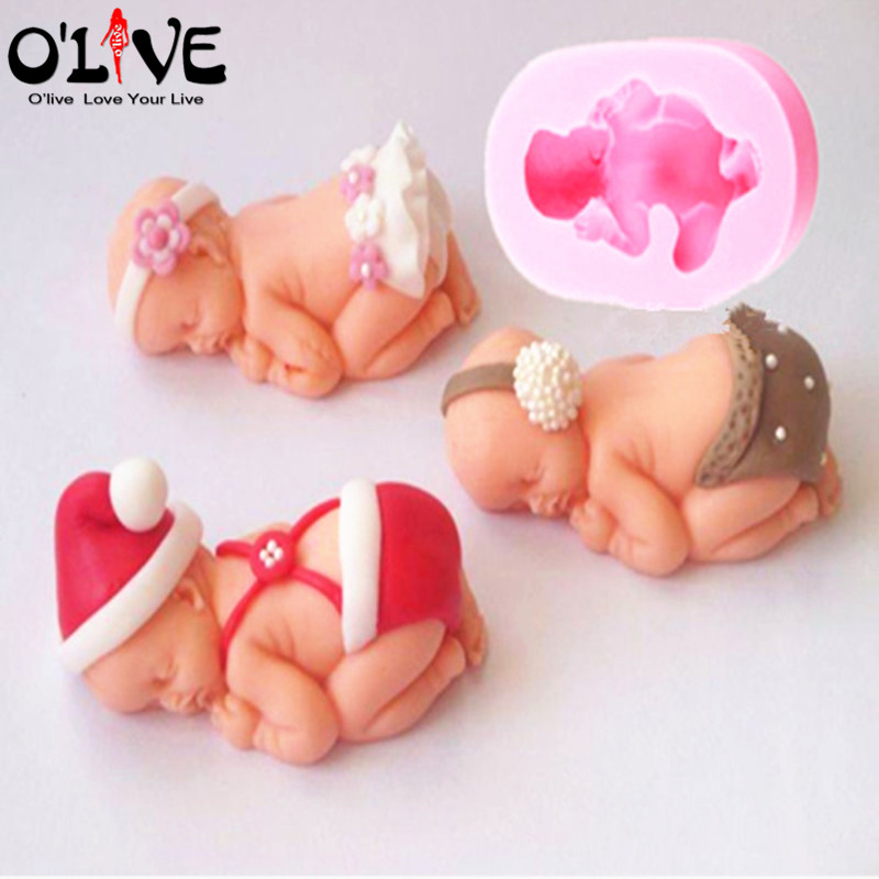 3D Baby Fondant Silicone Mold Cake Decoration Tools Chocolate Soap Forms Jelly Mould Candle Baking Cupcake Decorations Mastics