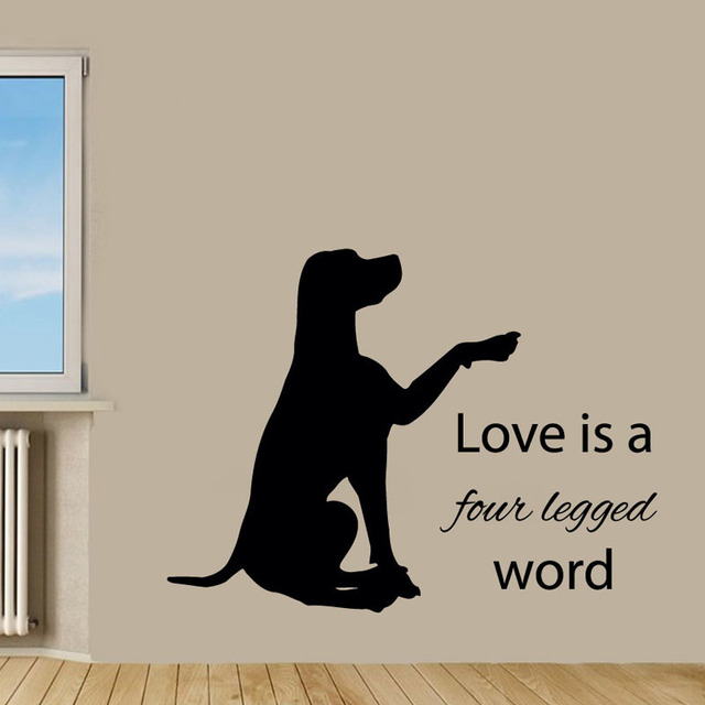 Love Is A Four Legged Word Wall Vinyl Sticker Labrador Pet Dog Waterproof Art Home Decor