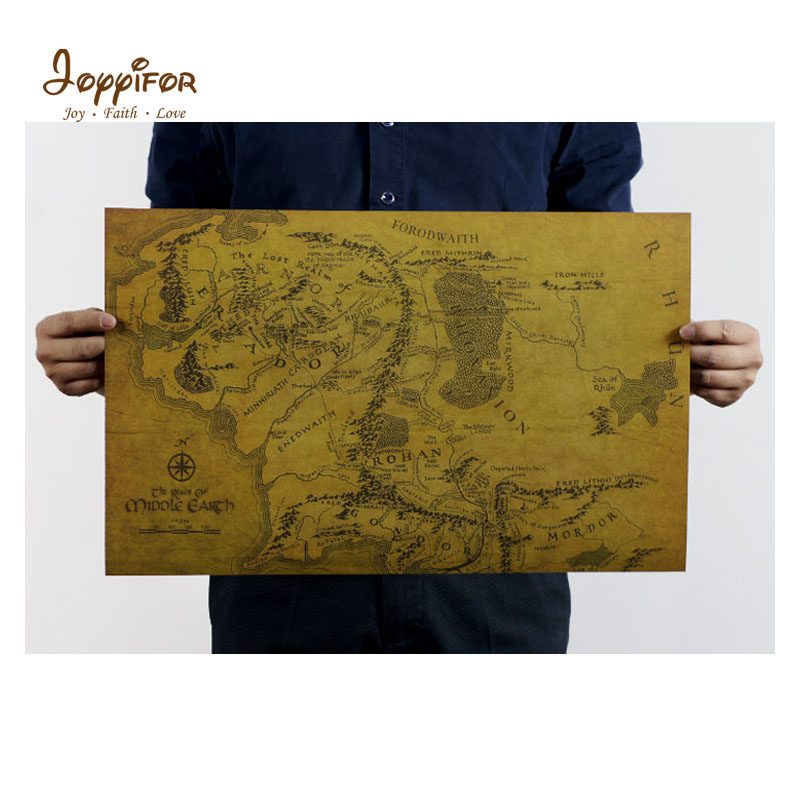 Joyyifor Harry Potter Magic World Map Kraft Paper The lord ring Map Magic Toys Shaman Hat Movie Toys world map image