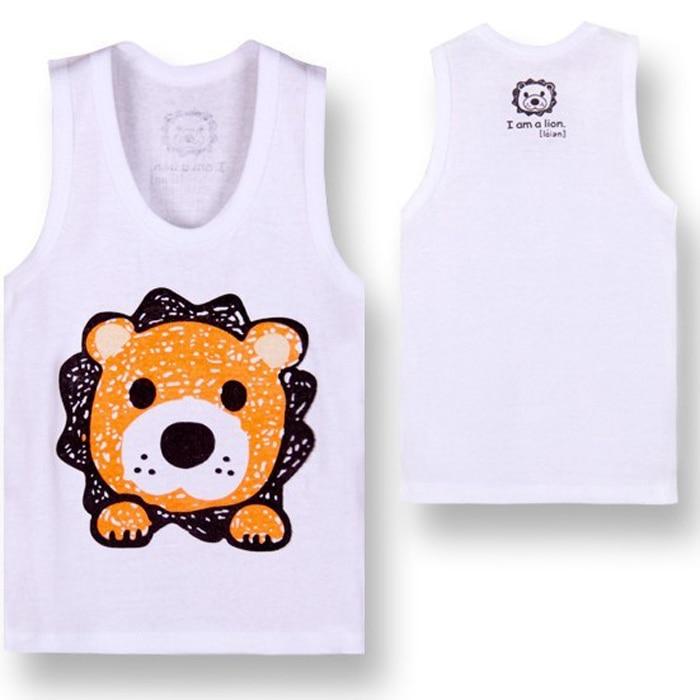 4 шт./лот хлопок футболки для грудничков детская футболка детская одежда детские футболки для мальчиков летняя одежда для девочек детские футболки детское платье без рукавов - Цвет: lion