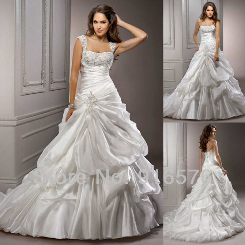 Wedding Ball Gowns With Straps: Glamour Chapel Train Ruffle Applique Sequin Ball Gown