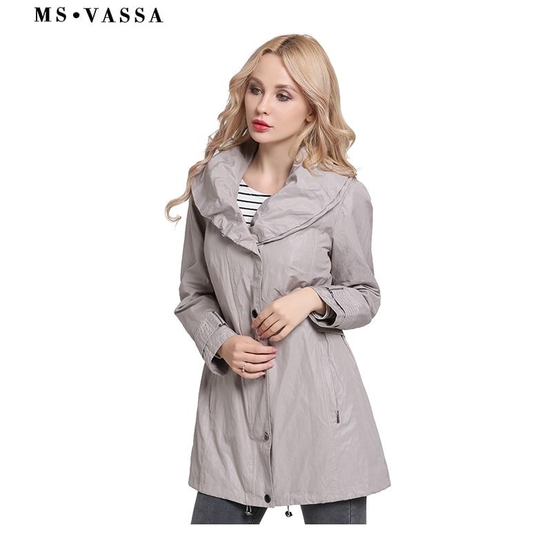 MS VASSA kobiety płaszcze 2019 nowych moda prochowce szal kołnierz wiosna panie jesień klasyczny styl plus rozmiar 6XL 7XL odzież wierzchnia w Trencze od Odzież damska na  Grupa 2