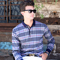 Марка мужская Polo Рубашка Англия Бизнес Случайный С Длинными Рукавами Polo Рубашка Мужской Толще Плед Печати Тонкий Досуг POLO рубашка