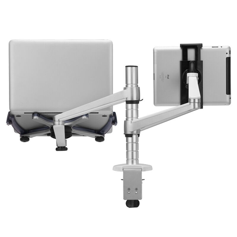 OA-9X Laptop Stand Aluminum Adjustable Height Universal Rotation Dual Arm Holder for 10-15 inch Notebook and 7-10 inch Tablet PC