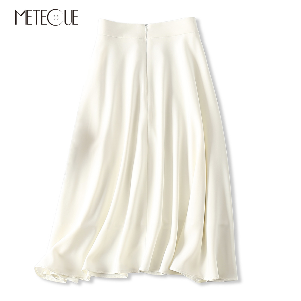 Mujer Talle Línea Swing Elegante Falda Mujeres Primavera De Negro Faldas Negro Triacetato Una Sedoso Las Alto Verano 2019 blanco v4ngfxEc