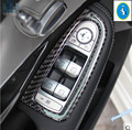 Carbon Fiber ! For Mercedes Benz C Class W205 / GLC X205 2014 2015 2016 Armrest Window Lift Button  Interior Trim 4 Pcs / Set