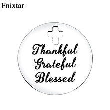 Fnixtar Polishing Steel Alphabet Metal Charms For Women Jewelry Making Accessories Never Fade Cross Hole Round Charms 10pcs/lot