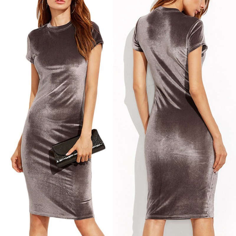 Women Velvet Sheath Dress O-Neck Short Sleeve Slim Pencil Office Work Wear Knee Length Summer Casual Solid Dresses Vestidos