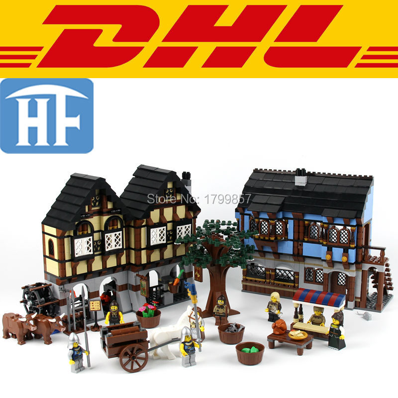 ФОТО 2017 New 1601Pcs Medieval Market Village Model Building Kits Blocks Bricks Hot Toys For Children Figures Compatible With 10193