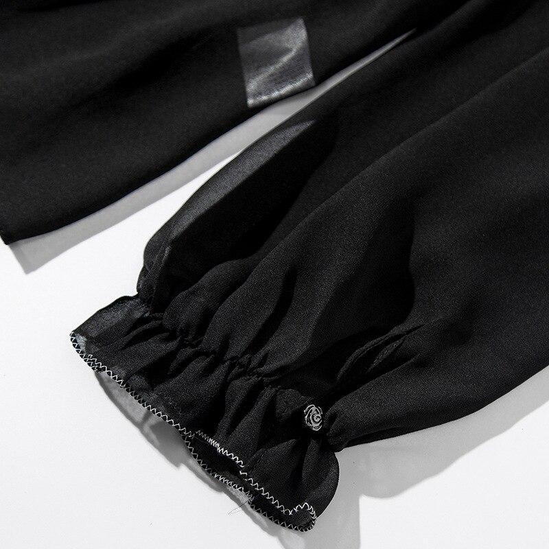 Solide Chemisier Printemps Ruches Chemises Noir Manches Femmes 2019 En Longues Pulls Nouvelle Mousseline dggwZ4Ex