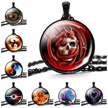 лучшая цена Dragon Necklace Steampunk Dragon Picture Glass Cabochon Black Chain Pendant Necklace Gift for Friends