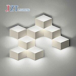 Креативный светодиодный настенный светильник Flod Magic, алюминиевый стереосветильник с ромбовидным кубиком льда, 3D настенный светильник с гео...