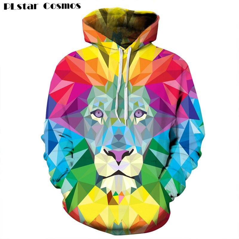 PLstar Cosmos New Design Cool Lion 3D Sweatshirts Men/Women Hoodies Galaxy/Cartoon/Sad Eye Print Loose Thin Hooded 24 Style