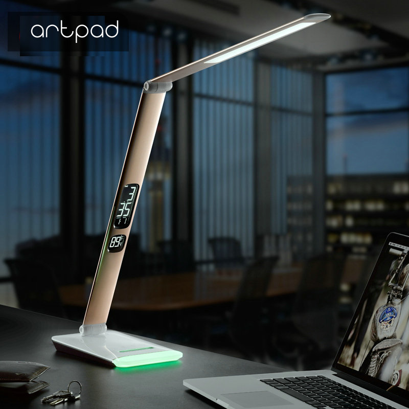 12 W D'affaires En Aluminium Dimmable led Lumière Du Jour lampe de bureau Bureau bureau pliable Lampe avec RGB Coloré Base Affichage du Calendrier