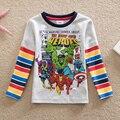 NEAT Atacado novo 2016 baby boy roupas infantis de super herói impresso menino dos desenhos animados T-shirt 100% algodão camiseta de manga longa B821 #