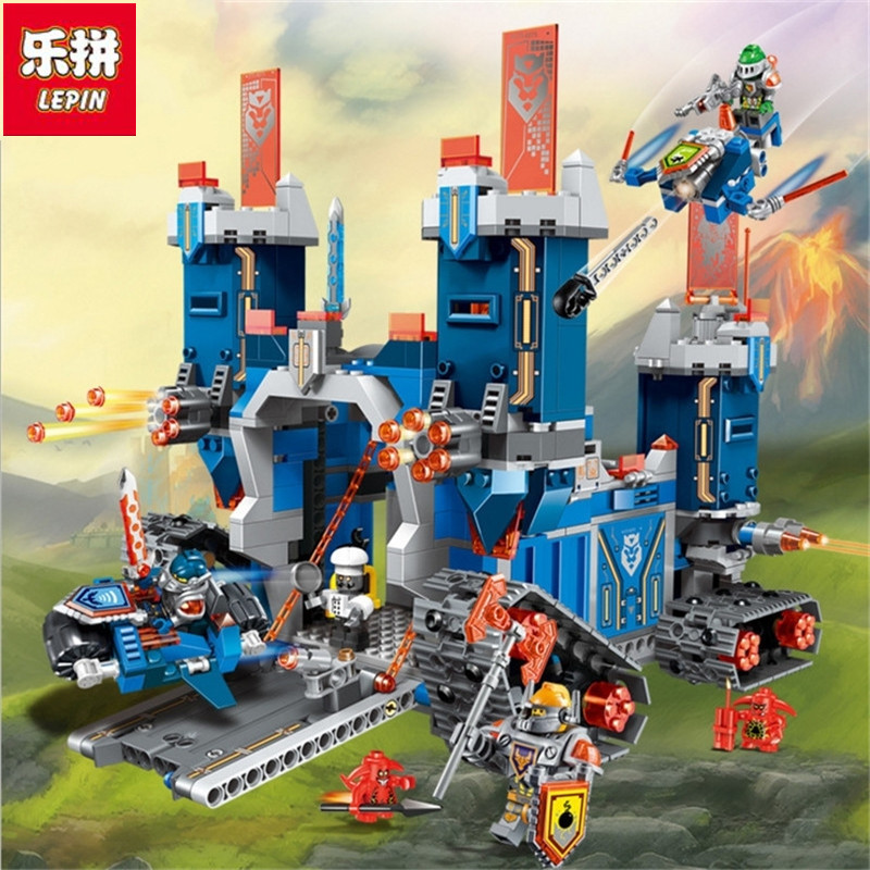 Lepin 14006 Nexoe 1115Pcs The Fortrex Nexus Knights Building Blocks Bricks kit Toys Set Castle Weapon Clay Aaron Fox Axl 70317 lepin 14011 nexoe knights nfernox captures the queen model building kits aaron minifigures blocks bricks compatible with lego