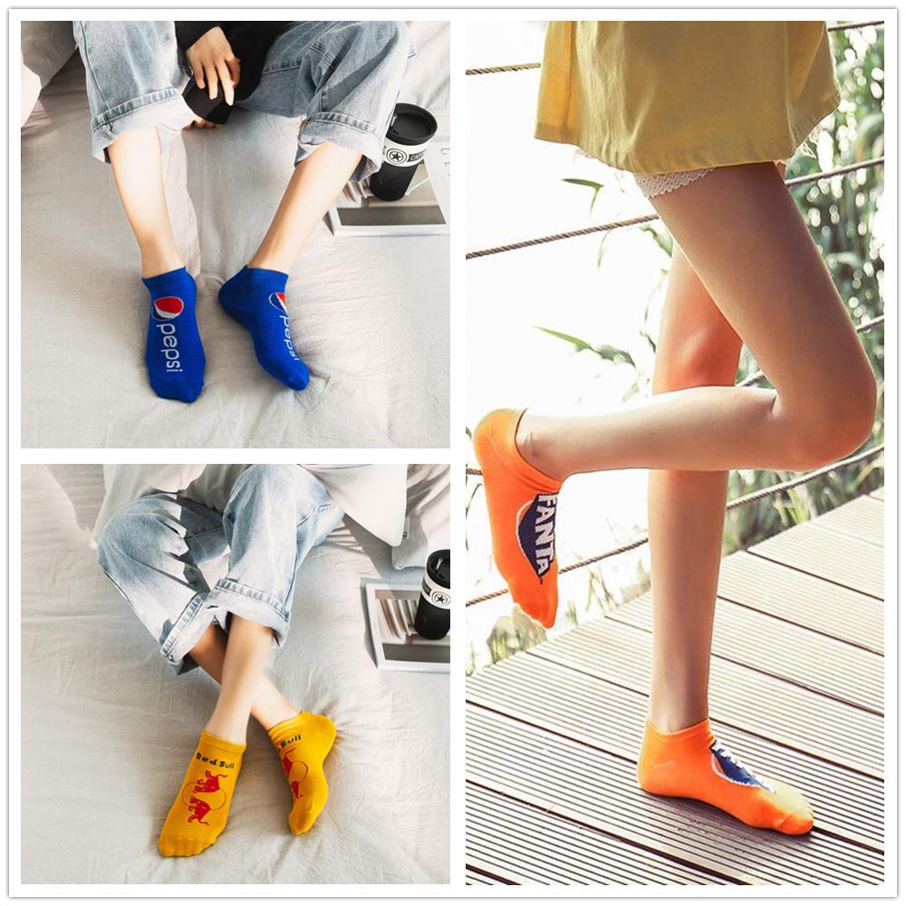 2019 new Harajuku drink printing men and women fashion funny drink cola   socks   quality summer   socks