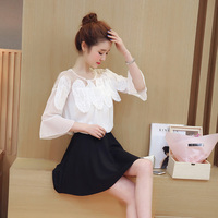 2017 Summer Women Shirts Patchwork Mesh Lace Chiffon Divided S A Line Outfit Blouse Shirt White