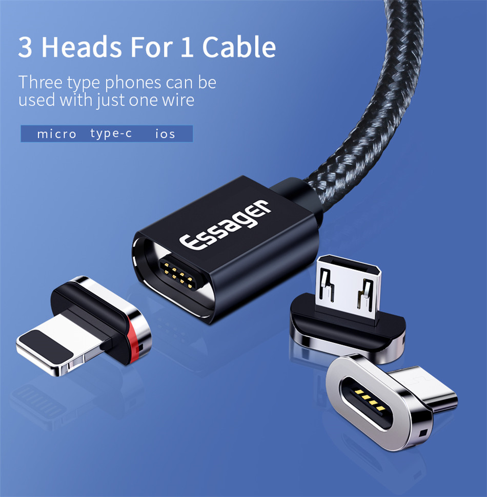 Essager Magnetic Micro USB Type-C Cable For iPhone Samsung With Magnet Charger 3