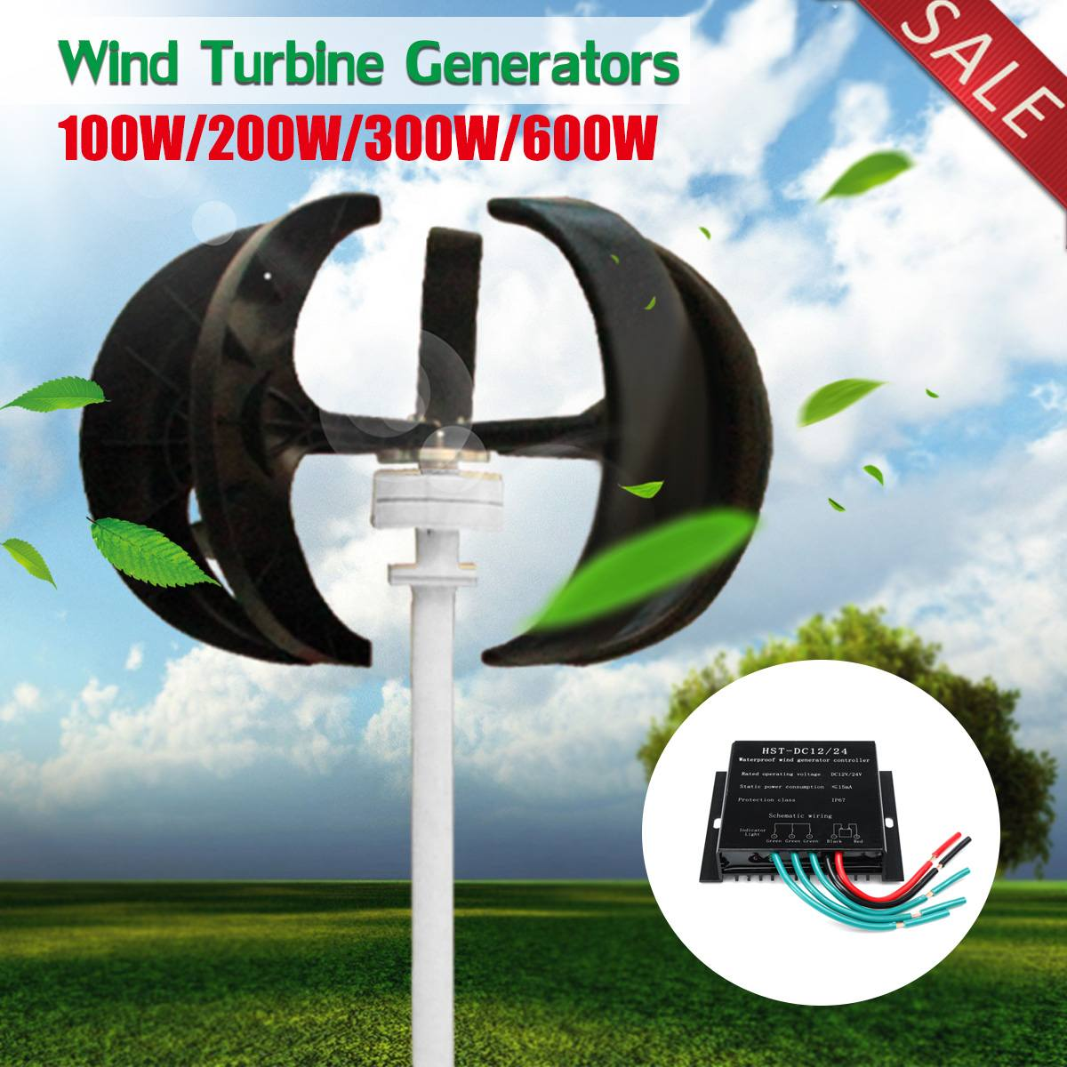 100/200/300/600W 12V/24V Vertical Axis Wind T urbine Generators VAWT House Boat Garden Residential Use with Controller100/200/300/600W 12V/24V Vertical Axis Wind T urbine Generators VAWT House Boat Garden Residential Use with Controller