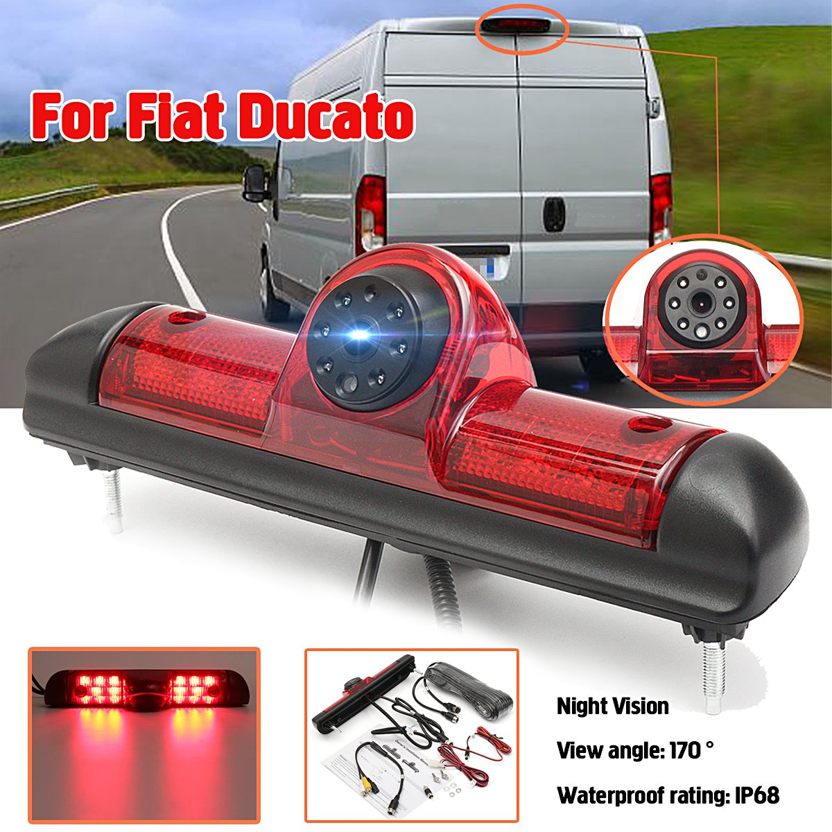 Car 170 Degree Rear View Reversing Backup Camera Brake Light Night Vision for Fiat Ducato Car Waterproof High Quality