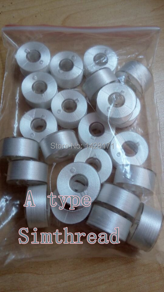 50pcs Simthread White 75D/2 Polyester Filament Classic 15 A Type Plastic Side Bobbin Thread With Free Shipping.