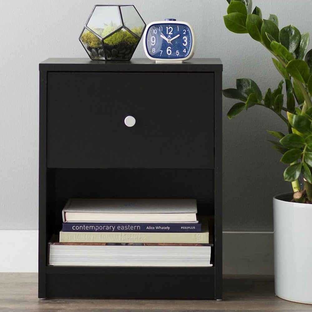 Accent Table Night Stand Set Black End Table Bedside Shelf Drawer Furniture New US Shipping