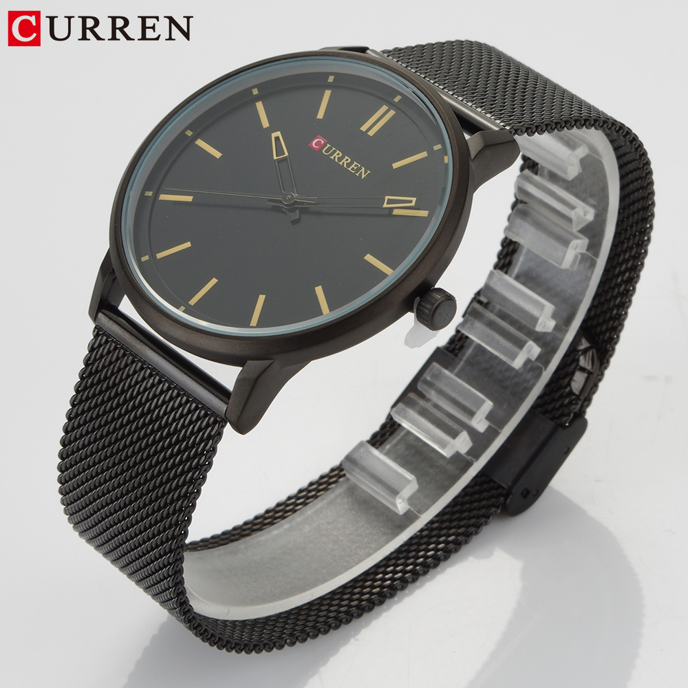 New Steel Net Strap Men Quartz Watch Curren Top Causal Brand For Men Watches Simple Male Wristwatch Waterproof Relogio Masculino