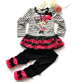 2016 Kids Clothes Sets Girls Autumn 2pcs Minnie Sets Sport Suit  Baby Girls Dresses Clothing Sets Long  stripe Shirt +Long Pants
