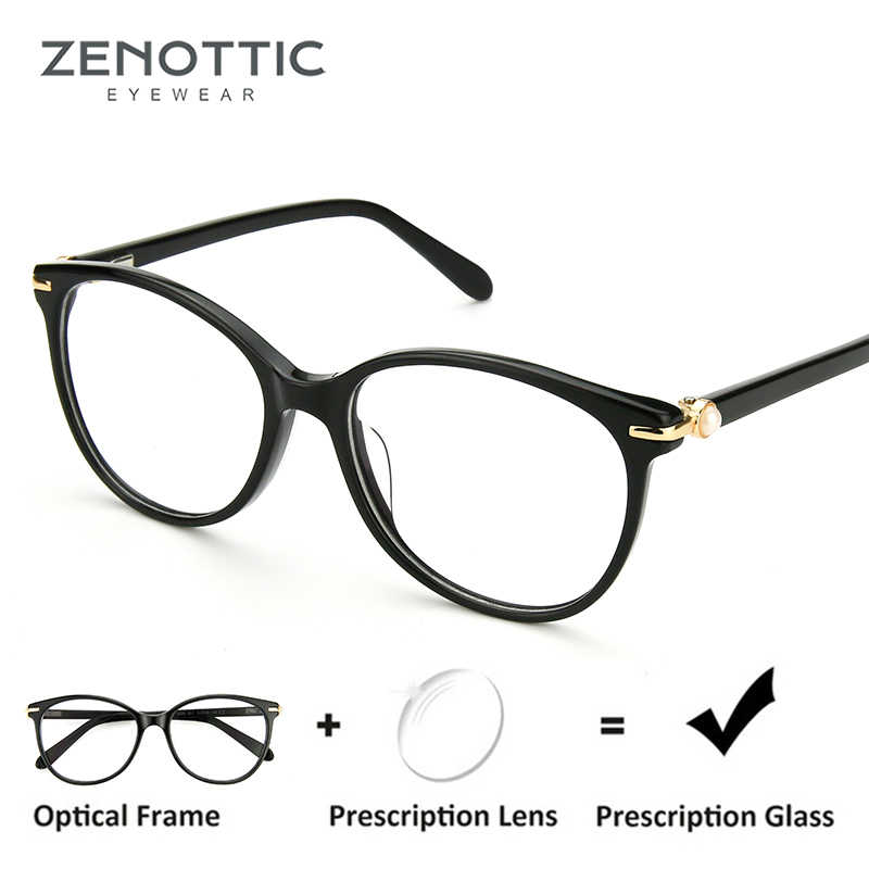d93bd8e1e ZENOTTIC Retro Acetate Prescription Glasses Women Optical Transparent Eyewear  Frames Myopia Clear Eyeglasses Spectacles Frames