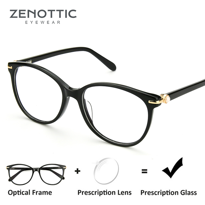 ZENOTTIC Retro Acetate Prescription Glasses Women Optical Transparent Eyewear Frames Myopia Clear Eyeglasses Spectacles Frames