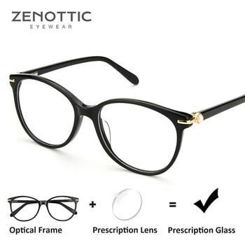 8c959cf77b ZENOTTIC Retro acetato gafas de prescripción mujer gafas ópticas  transparentes montura miopía gafas transparentes monturas