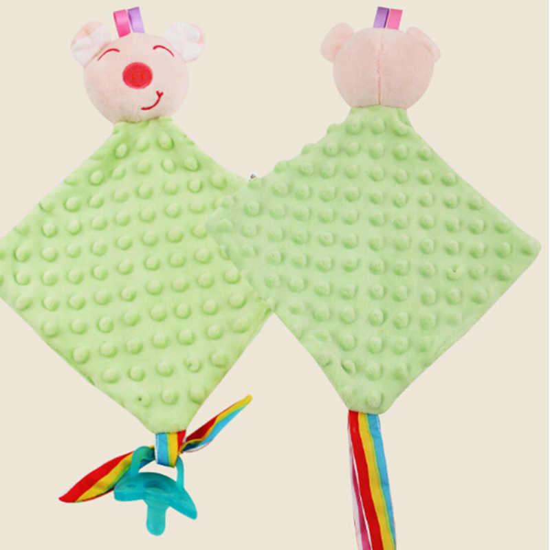 Kawaii hayvan havlu oyuncaklar yenidoğan bebek güvence Blankie yatıştırmaya havlu bebek eğitici peluş çocuk oyuncakları