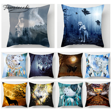 Fuwatacchi Wolf Animal Decor Cushion Cover Howl Moon 3D Print Pillow Car Living Room Decorative Accessories Case
