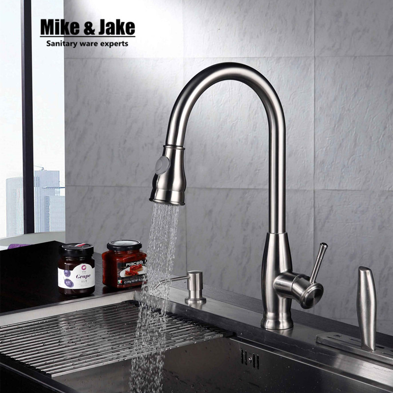 Nickel brushed SUS 304 pull down kitchen faucet SUS 304 sink kitchen mixer healthy kitchen faucet lead free tap kitchen mixer nickel sink pull out brushed nickel kitchen faucet pull down sink swan faucet kitchen tap torneira cozinha kitchen mixer tap