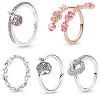 5 Style Women 925 Silver Rings Jewelry With Rose Gold Peach Flower Crystal Ring For Women Jewelry
