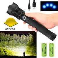 Die meisten lumen XLamp xhp70.2 jagd mächtigsten led taschenlampe aufladbare usb taschenlampe cree xhp70 xhp50 18650 oder 26650 batterie