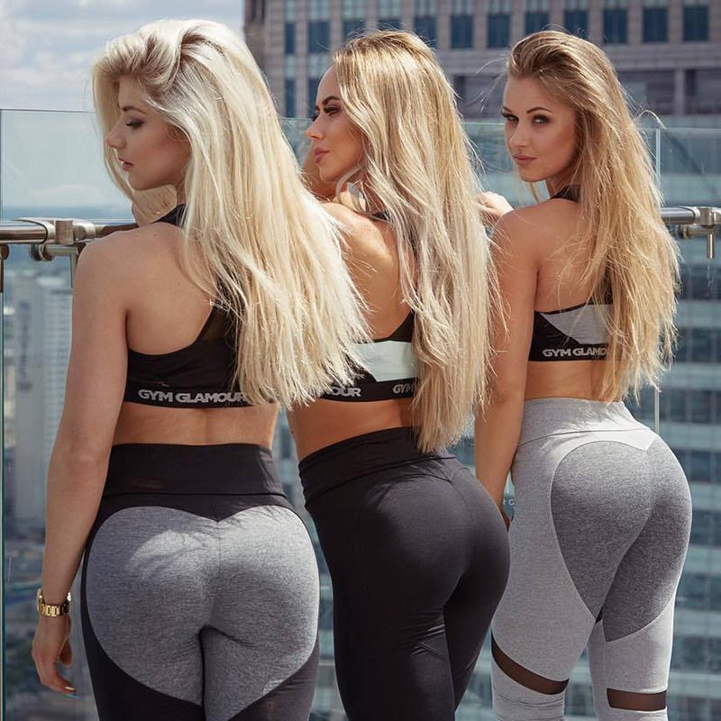 Sexy Cuore Pantaloni di Yoga Donne Patchwork Leggings Yoga Donne Push Up Leggins Donne Leggings Fitness In Esecuzione Pantaloni di Sport Delle Donne