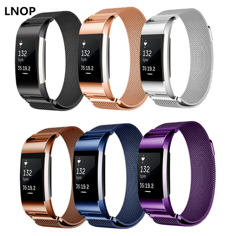 LNOP Milanese Loop for Fitbit Charge 2 band replacement strap wrist bands Link Bracelet Stainless Steel Bracelet charge2 belt аксессуар jbl jblchargecasegray grey чехол для charge charge2 charge2