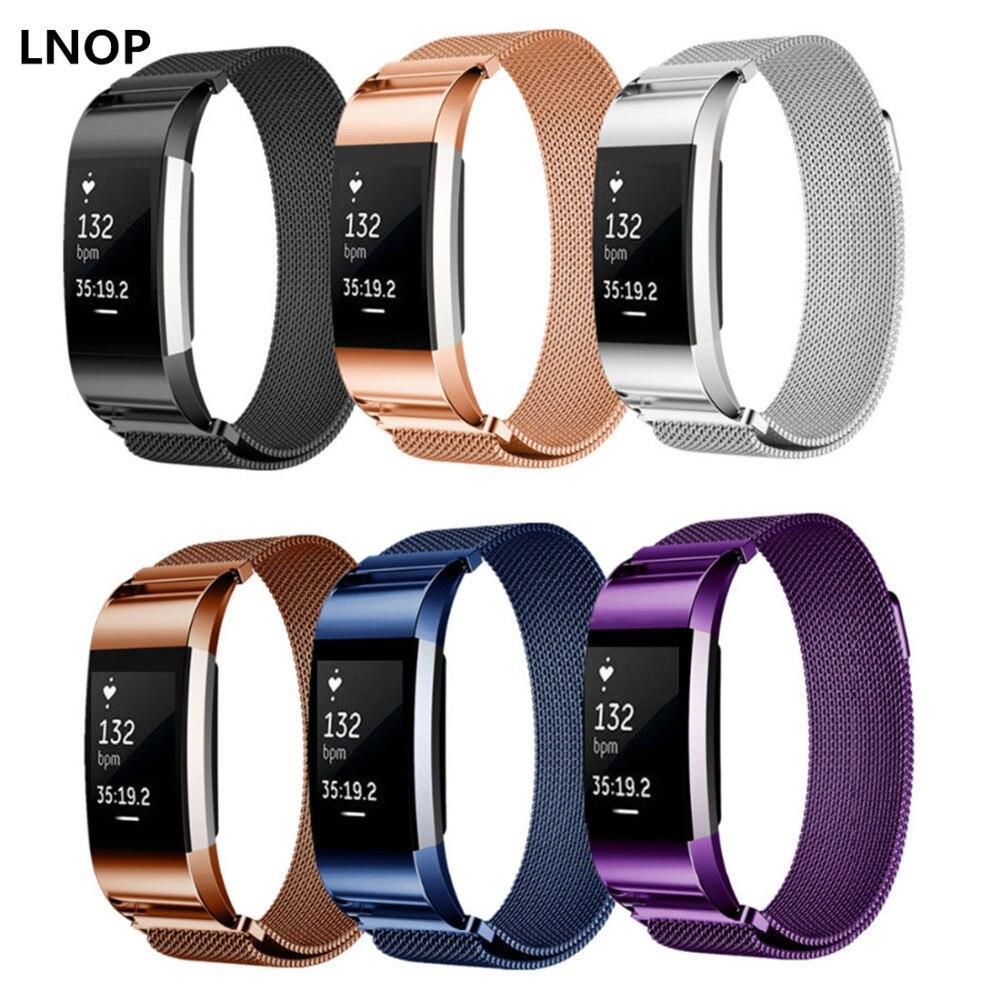LNOP pulsera Milanese Loop para Fitbit carga 2 hr charge2 correa de acero inoxidable reemplazo banda correa de muñeca pulsera de enlace de cinturón