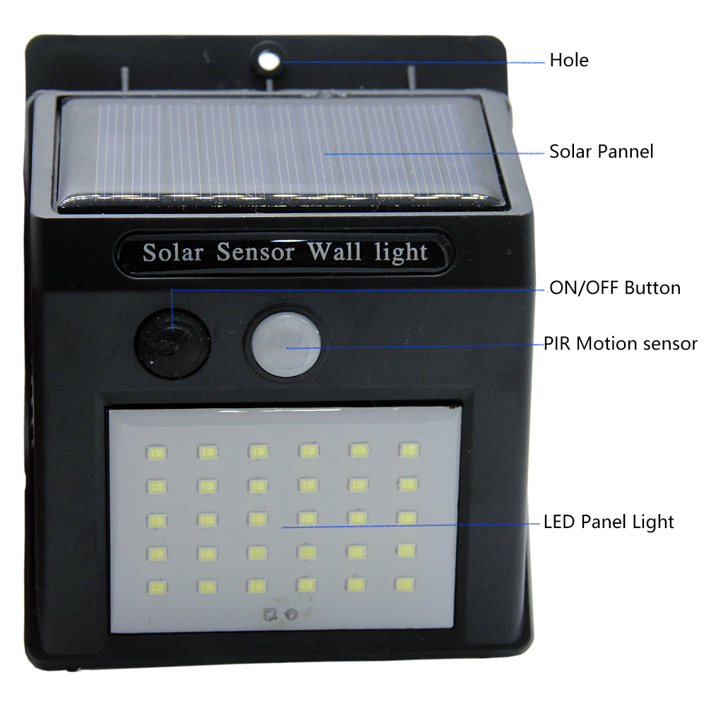 20 30 LED Solar Light Outdoor Solar Lamp PIR Motion Sensor Solar Panel Night Security Wall Light Garden Yard Path Waterproof in Solar Lamps from Lights Lighting