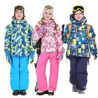30 Degree Boys Waterproof Ski Jacket Ski Pants Thick Camouflage Warm Snowboarding Jacket Windproof Breathable