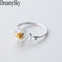 DreamySky koreański prawdziwy kolor srebrny Daisy pierścienie kwiatowe dla kobiet regulowana obrączka biżuteria