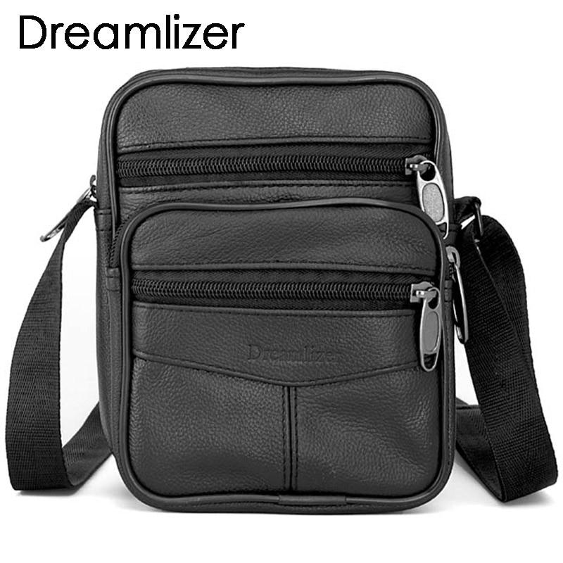 Dreamlizer de cuero genuino de los hombres bolsos masculinos pequeños bolsas de mensajero de los hombres a prueba de agua bolso de la cremallera Nueva moda de cuero Boy Bags