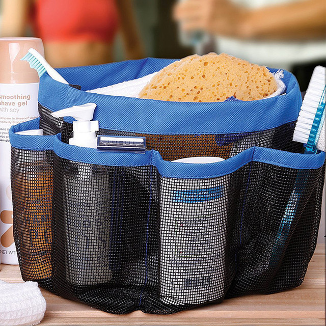 Simple Mesh Shower Caddy Tote Wash Bag Dorm Bathroom Caddy Organizer ...