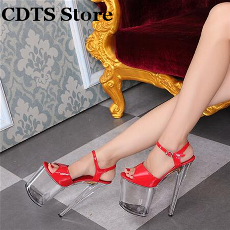 CDTS Plus:34-44 Multicolor fashion women's shoes sexy transparent Platforms Open Toe 20cm ultra thin high heels platform sandals ultra thin heels 20cm platform open toe print women s shoes plus size sexy 43 tiangao 42 34