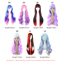 Gradient Color Long Wavy Curly False Hair Anime Cosplay Party Wig Hairpieces New