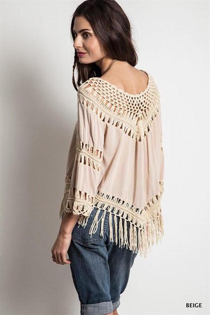 2017 spring sexy hollow hook t shirt female V neck three quarter sleeve shirt Knit tassel cotton tops women fashion sweet tshirt